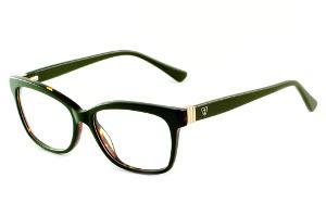 72b48d976 Óculos Ilusion acetato verde com contorno demi e haste flexível de mola
