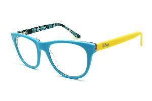 8c7c2d6d6 Óculos Disney acetato azul claro e haste com desenhos amarela flexível de  mola