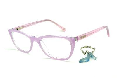 f4f3392fe Óculos Disney Princesa acetato lilás com haste rosa bebê + chaveiro de  brinde ...