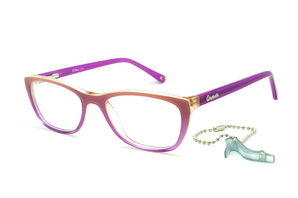 402d8c709af1a Óculos Disney Princesa acetato roxo laranja claro mesclado com haste roxa +  chaveiro de brinde