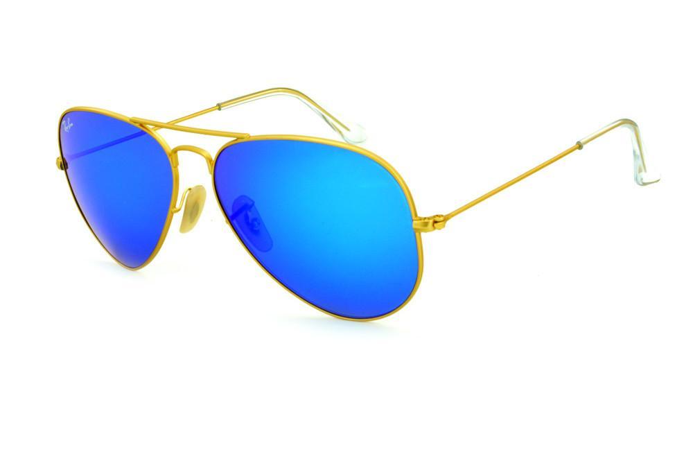 55839c5f13e48 Óculos Ray-Ban Aviador RB3025 dourado fosco e lente azul espelhada