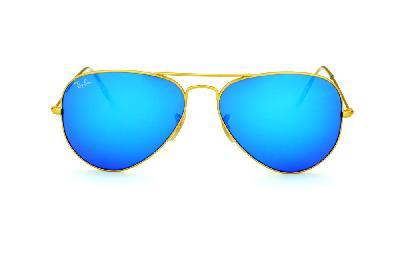 ray ban lente espelhada dourada