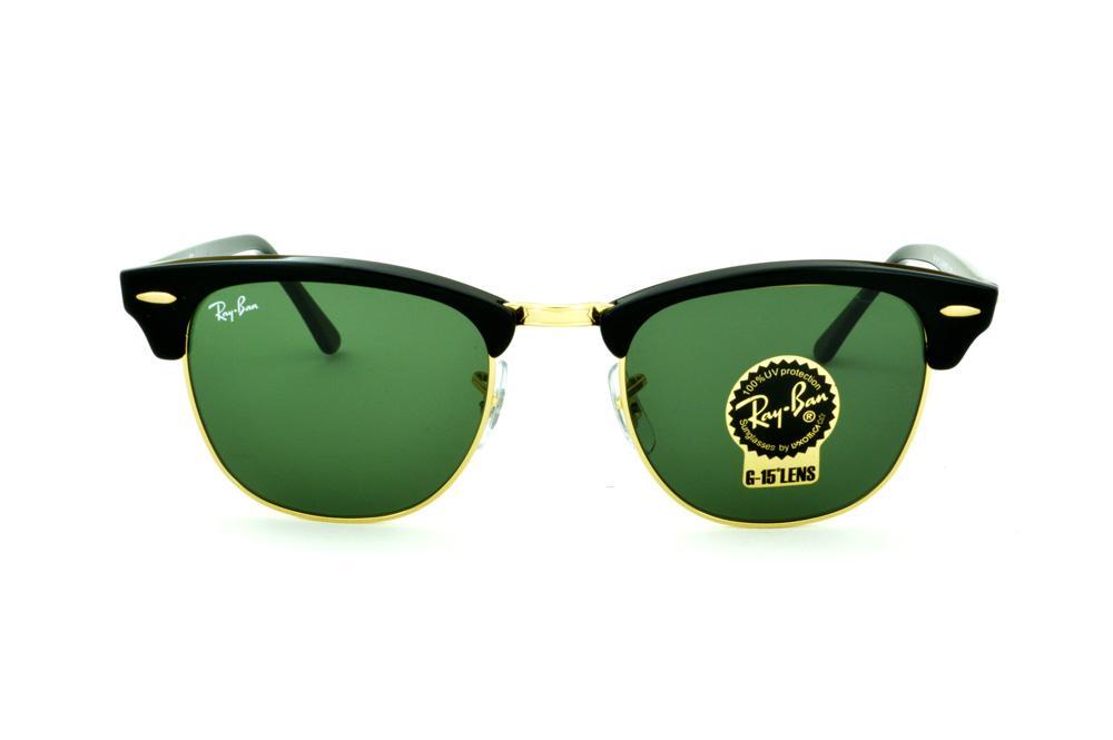 Óculos Ray-Ban Clubmaster RB3016 preto e dourado e lente G15 af264ae8a4