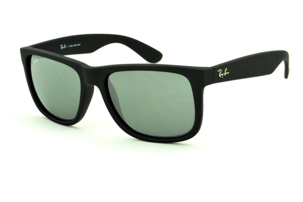c91c4c36d Óculos Ray-Ban Justin RB4165 preto lente semi espelhada prata