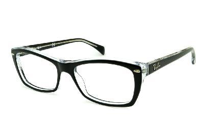 8335531a9bc44 Óculos Ray-Ban RB5255 Preto e Transparente com haste flexível de mola ...