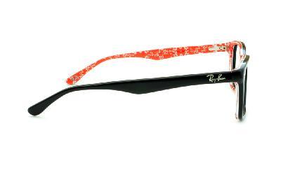 ... Óculos Ray-Ban RB5228 tamanho 55 Preto com haste estampada vermelho e escrita  branca d06d58040a