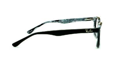 ... Óculos Ray-Ban RB5228 tamanho 53 Preto fosco com haste estampada cinza  e preta f68d0c7bdc
