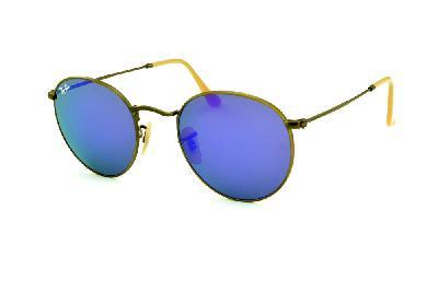 83547b742 ... Óculos Ray-Ban Round RB3447 metal bronze/bege redondo com lente  espelhada violeta ...