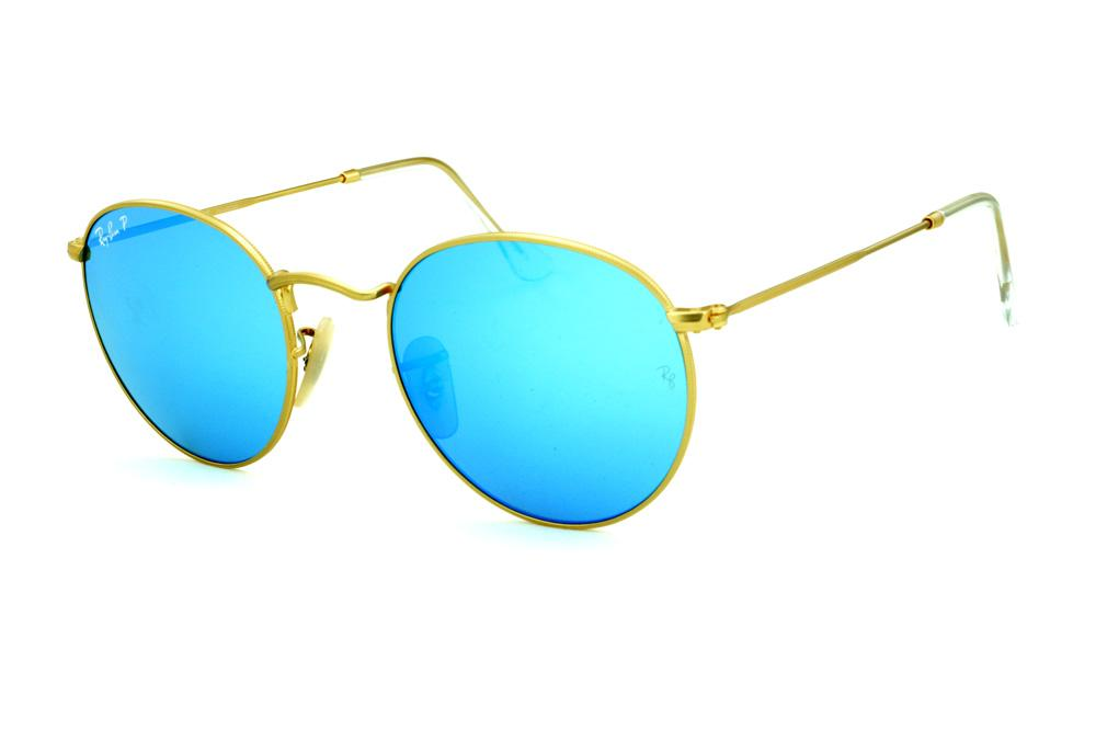 Óculos Ray-Ban Round RB3447 dourado lente azul polarizada e88e982dc3