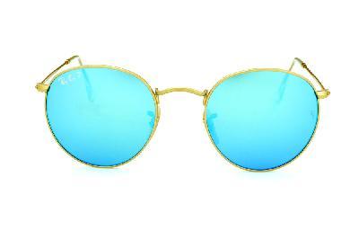 e7884cd95 ... Óculos Ray-Ban Round RB3447 metal dourado redondo com lente espelhada  azul polarizada ...