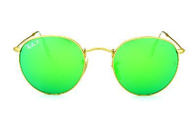 247ecc5a2e6eb ... Óculos Ray-Ban Round RB3447 POLARIZADO metal dourado redondo com lente espelhada  verde ...