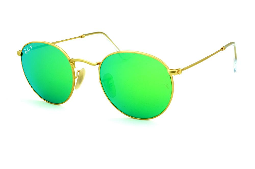 590dde837b14e Óculos Ray-Ban Round RB3447 POLARIZADO dourado lente espelhada verde
