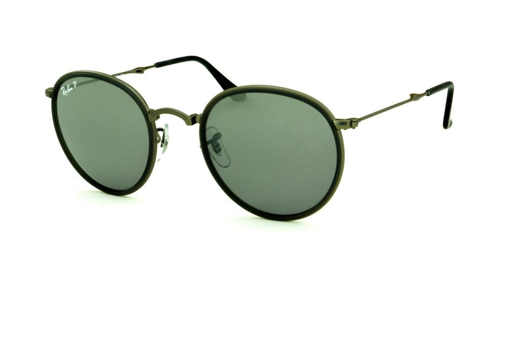 1501db835 Óculos Ray-Ban Round RB3517 chumbo friso cinza e lente polarizada