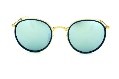 ... Óculos Ray-Ban Round RB3517 metal dourado friso azul redondo com lente  espelhada prata suave ... 6e69ece1eb