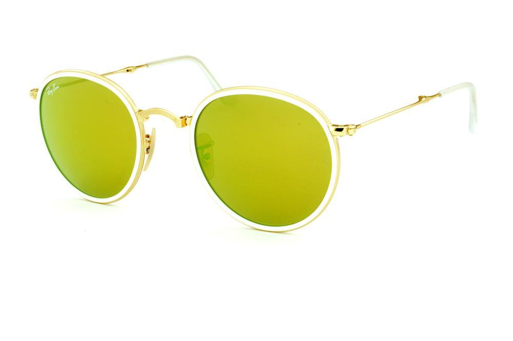 Óculos Ray-Ban Round RB3517 dourado friso branco e lente amarela f4c73e0eb4