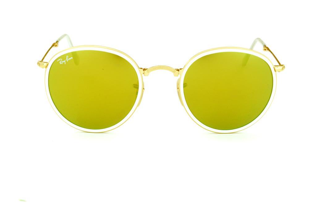 a7c9854cb Óculos Ray-Ban Round RB3517 dourado friso branco e lente amarela
