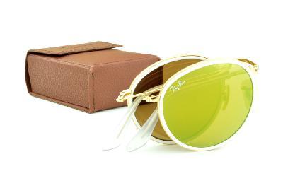 ... Óculos Ray-Ban Round RB3517 metal dourado friso branco redondo com lente  espelhada amarela 7afc0cf42e