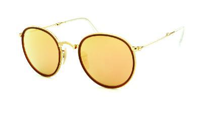 66e82cefd ... Óculos Ray-Ban Round RB3517 metal dourado friso marrom redondo com lente  espelhada rosê ...