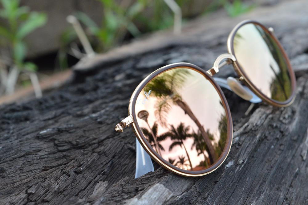 5bb7308c6 Óculos Ray-Ban Round RB3517 dourado e marrom lente espelhada rosê