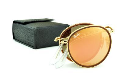 5d89f7e46 ... Óculos Ray-Ban Round RB3517 metal dourado friso marrom redondo com lente  espelhada rosê