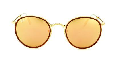... Óculos Ray-Ban Round RB3517 metal dourado friso marrom redondo com lente  espelhada rosê ... 4faacdb051