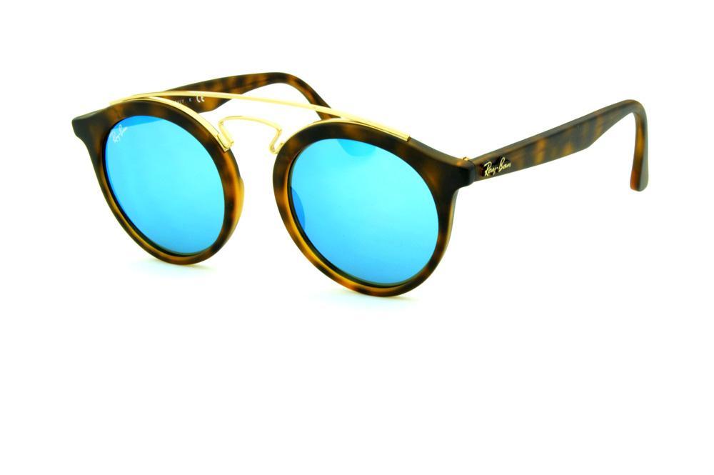 04bceadf4 Óculos Ray-Ban de Sol RB4256 Gatsby Small tartaruga fosco com lente  espelhada azul