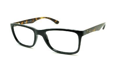 Óculos Ray-Ban RB7027 preto com haste tartaruga demi efeito onça de mola  flexível ... 7c3cea5b7a