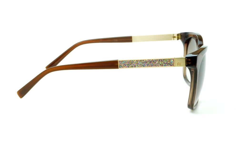 95a0758df93c9 Óculos Ana Hickmann HI9198 marrom haste giratória dourada