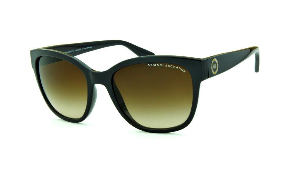 06ab579f072 Óculos de Sol Armani Exchange AX4046SL marrom com logo redondo e lente  marrom degradê