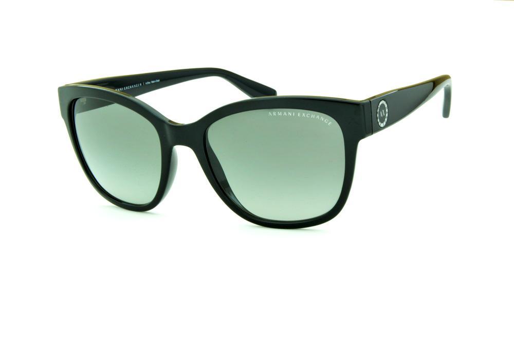 53911efcceeb4 Óculos de Sol Armani Exchange AX4046SL preto com detalhe nas hastes redondo  e lente cinza degradê