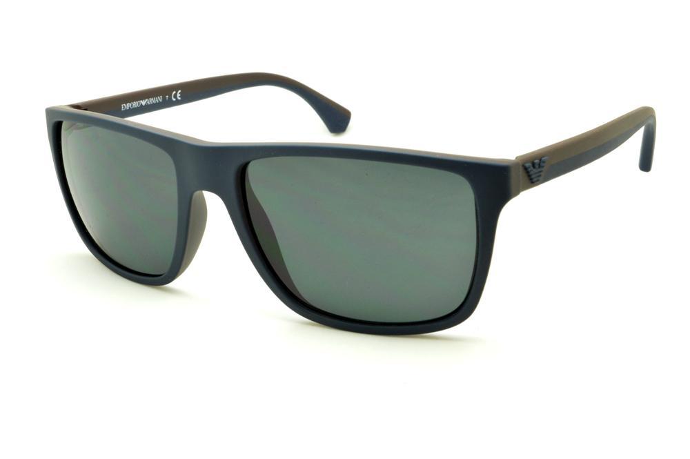 26100bd8379 Óculos Emporio Armani EA4033 de Sol azul e marrom com haste efeito borracha