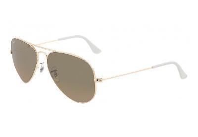 Óculos Ray-Ban Aviador RB3025 dourado com lente marrom espelhada ... 5ec163f18c