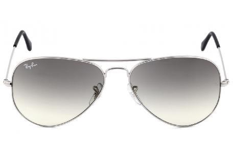 d0cf7565a3d6d ... Óculos Ray-Ban Aviador RB3025 prata com lente degradê fumê ...