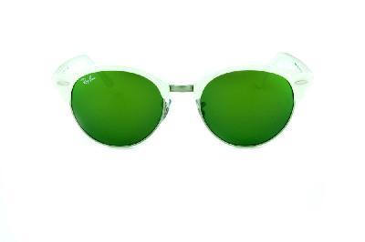 f2e8ba6ca ... Óculos de Sol Ray-Ban RB4246 Clubround branco perolizado com metal  prata e lentes espelhadas ...