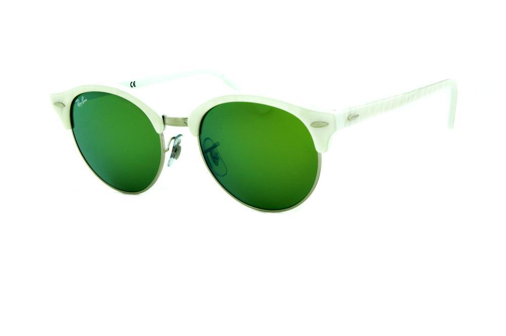 54ad882a95128 Óculos de Sol Ray-Ban RB4246 Clubround branco e lente espelhada verde