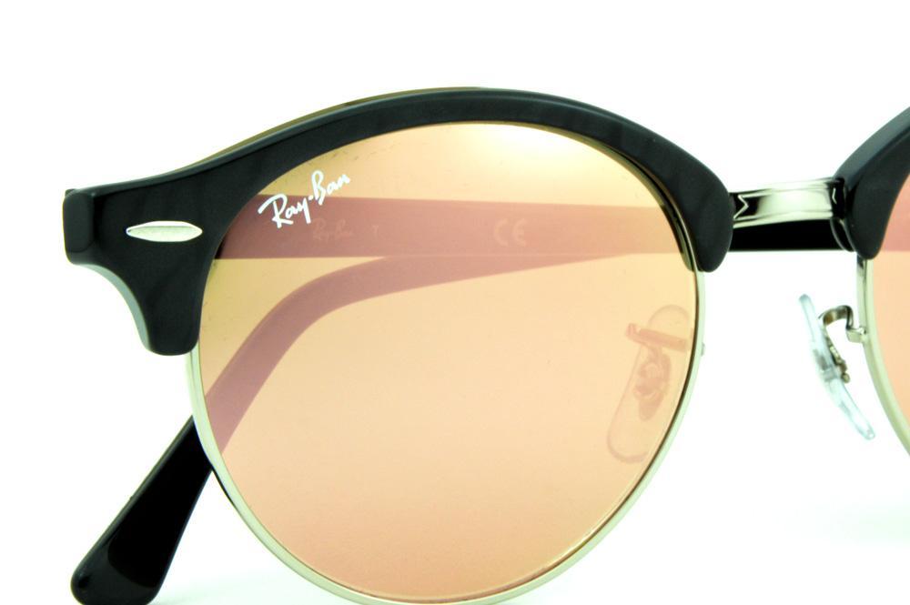 3104e34d6 Óculos de Sol Ray-Ban RB4246 Clubround preto e lente espelhada rosê